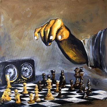 Huile sur toile Chess par Rémi Bertoche